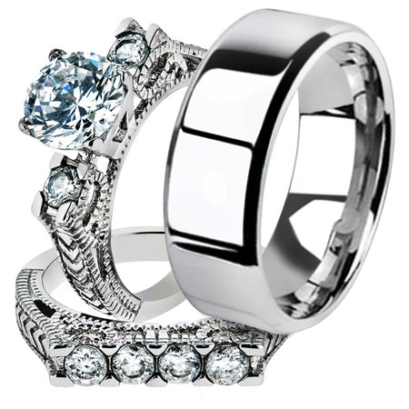 His & Her 3pc Stainless Steel 2.95 Ct Cz Bridal Ring Set & Men Beveled Edge Band Women