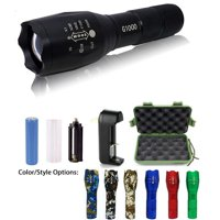 G1000 Military Tactical Flashlight 5 Modes Zoomable Adjustable Focus - Ultra Bright LED Tactical Flashlight - Full Kit  (Black)