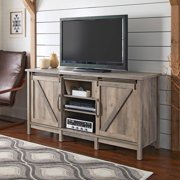 "Better Homes & Gardens Modern Farmhouse TV Stand for TVs up to 60"", Rustic Gray Finish"