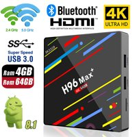 H96 Max+ Android TV BOX RK3328 Quad Core 4GB RAM 64GB 5G WiFi Bluetooth Storage Mali-450MP2 GPU 3D 4K 1080P UHD H265/H264/VP94GB Android 8.1 2.4G WiFi Wireless USB3.0 HDMI 2.0a with HDCP 2.2