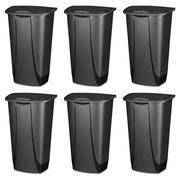 Sterilite, 11 Gal./42 L SwingTop Wastebasket, Black, Case of 6