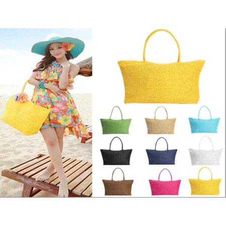 Meigar Women Straw Weaving Summer Beach Tote Bag Purse Handbag Shopping Bag Zippered Bag