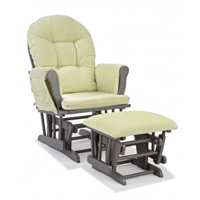 Storkcraft Hoop Glider and Ottoman Gray with Sage Cushions
