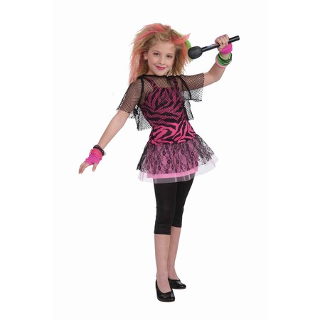80s Rock Star Girl's Costume (Famous Rock Star Halloween Costumes)