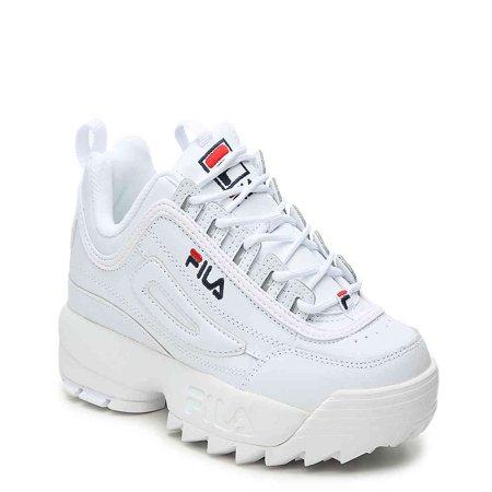 Fila Women's Disruptor II Premium Sneakers, White Navy Red, 7.5 M US