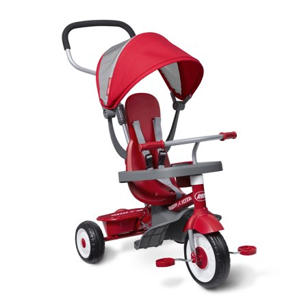Infant Tricycle - Radio Flyer, 4-in-1 Stroll 'N Trike, Grows with Child, Red