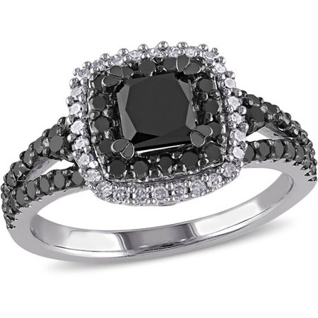 1-1/2 Carat T.W. Princess with Round-Cut Black and White Diamond Sterling Silver Double Halo Engagement Ring (Black Diamond Engagement Ring)