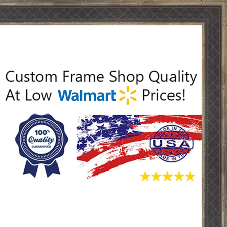 - 11x17 Checkered Navy Blue w/ Dark Antique Silver Raised Trim Wood Frame - 'Oxford I' Thin - Great for Posters, Phot