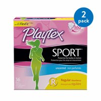 (2 Pack) Playtex Sport Tampons Unscented Regular Absorbency - 36 Count