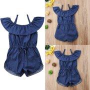 29d49abaf6a Hot Toddler Baby Kids Girls Denim Blue Strap Romper Jumpsuit Playsuit  Clothes Summer