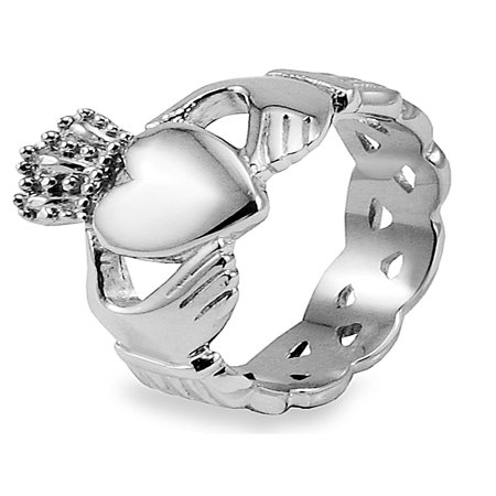 Stainless Steel Celtic Knot Eternity Claddagh Ring - Stainless Steel Celtic Knot