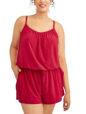 Women's Plus-Size Romper Swimsuit w/Pockets
