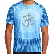 Mens Tie Dye Hindu AUM Symbol T-shirt, Small Royal Blue