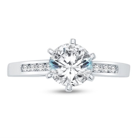 Solid 14k White Gold Round Cut Solitaire Engagement Ring CZ Cubic Zirconia (1.50cttw., 1.25ct. Center Stone) , Size 7