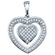 10K White Gold 0.20ct Shiny Micro Pave White Round Cut Diamond Heart Pendant