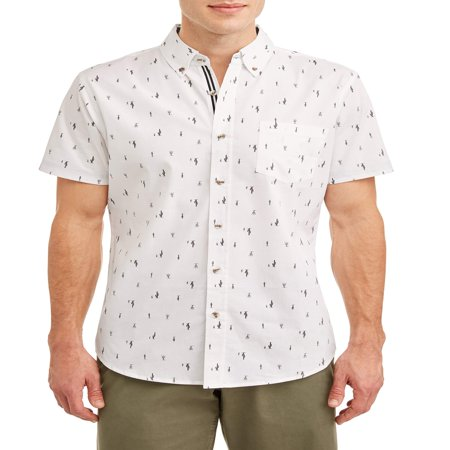 Lee Men's Short Sleeve Stretch Button Down Shirt with All-Over Ditsy Prints, Available up to size