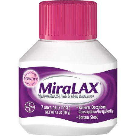 - MiraLAX Polyethylene Glycol 3350 Powder Laxative, 4.1 Oz, 7 Dose