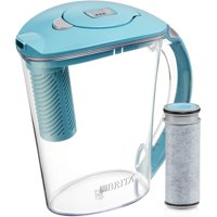 Brita Stream Filter as You Pour Water Pitcher with 1 Filter, Rapids, BPA Free, Lake Blue, 10 Cup