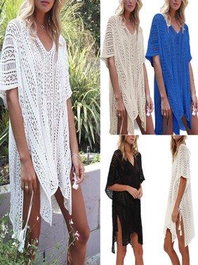 Women Bikini Cover Up Hallow Crochet Beach wear Dress Summer Bathing Suit Blouse