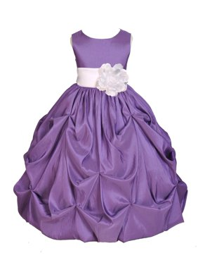 Ekidsbridal Purple Bubble Pick-up Taffeta Flower Girl Dress Christmas Bridesmaid Wedding Pageant Toddler Recital Easter Holiday Communion Birthday Baptism Occasions 301s