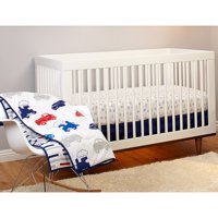 Little Bedding by Nojo Reversible On the Go Vehicles/Brick Print 3-Piece Crib Bedding Set