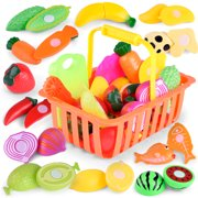 Outgeek 16Pcs Food Toy Set Realistic Fruits Vegetables Plastic Cutting Toys Kitchen Play Food Cooking Kitchen Toy Birthday Gift for Children Kids Boys Girls