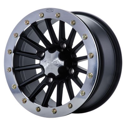 4/110 ITP SD Series Single Beadlock Wheel 14x7 5.0 + 2.0 Polished Beadring for Honda Rancher 420 AT 4x4 IRS 2009-2014