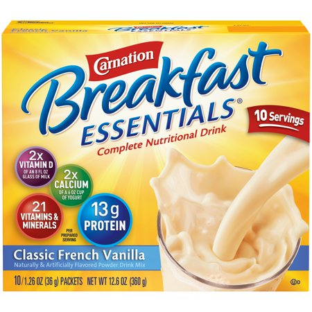 Carnation Breakfast Essentials Powder Drink Mix, Classic French Vanilla, 1.26 oz. Packets, 10 (French Garden Breakfast Cup)