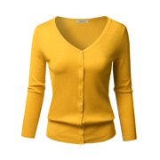 4fb3d677ae85a FashionOutfit Women s Solid Button Down V-Neck 3 4 Sleeves Knit Cardigan