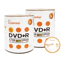 200 Pack Smartbuy 16X DVD+R DVDR 4.7GB Logo Top (Non-Printable) Data Video Blank Recordable Disc