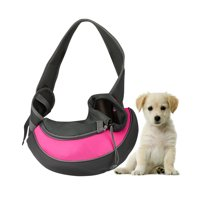 Pet Puppy Carrier Sling Hands-Free Shoulder Travel Bag. Great For Walking Your Pet. Dog Cat Pet Puppy Outdoor Reversible Pouch Mesh Shoulder Carry Bag Tote Handbag Carrier- (Pink/Small)