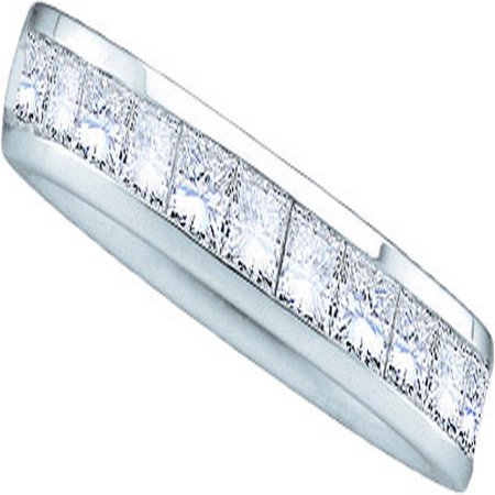 14kt White Gold Womens Round Diamond 3mm Wedding Band Ring (.25 cttw.)