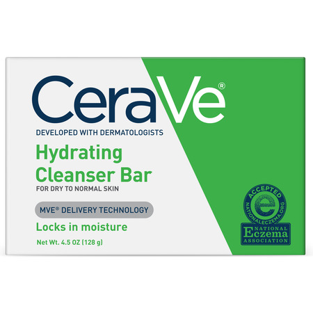(2 pack) CeraVe Hydrating Cleansing Bar for Face and Body 4.5