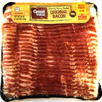 Great Value Original Bacon, Naturally Hickory Smoked, Mega Pack, 24 oz
