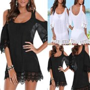 US New Sexy Women Lace Crochet Bathing Suit Bikini Swimwear Cover Up Beach  Dress 031e473f107e
