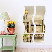 18 PCS 3D Acrylic Modern Mirror Wall Stickers Vinyl Removable Home View Window Decal Art Decor