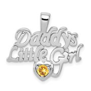Sterling Silver Citrine Daddy's Little Girl Pendant