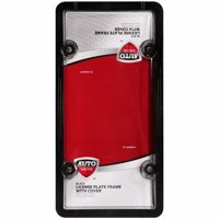 Auto Drive? Black License Plate Frame with Cover 2 pc Pack