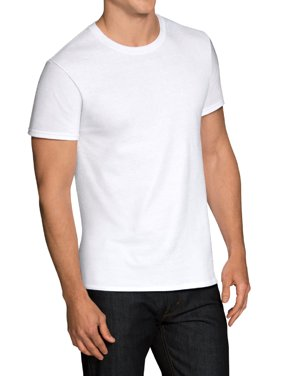 Men's Dual Defense White Crew T-Shirts, 6 Pack