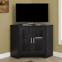 "Monarch Tv Stand Cappuccino Corner With Glass Doors For TVs Up To 42""L"