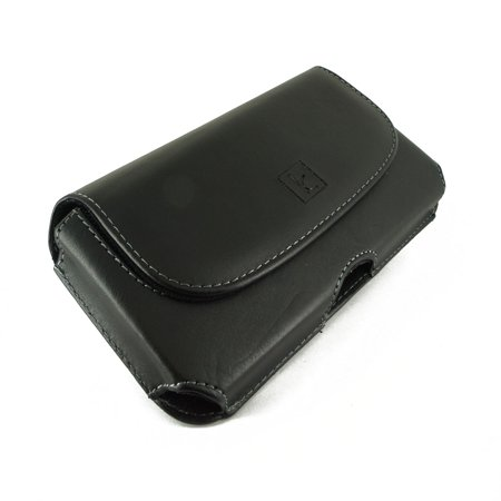 Blackberry Curve 8520 Cover - Leather Case Pouch Cover Clip w Belt Loops for Alcatel one touch C1 / BlackBerry Curve 9310 / 9315 / 9350 / 9360 / 9370 / LG 500g LG500g / 501c LG501c / 530G Saber and more (Fits Bare Phones)
