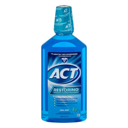 Splash Mount Pre Rinse ((2 pack) ACT Restoring Anticavity Mouthwash, Cool Splash Mint, 33.8 Fl Oz)