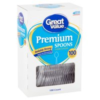 Great Value Premium Clear Spoons, 100 Count