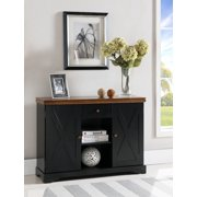James Black & Walnut Wood Contemporary Sideboard Buffet Console Table With Storage Drawer, Shelves & Cabinet Doors