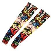 Floral Pattern Elastic Christmas Stocking Fake Tattoo Arm Sleeve 2 Pcs