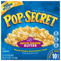 Pop Secret Microwave Popcorn Movie Theater Butter, Snack Size 1.75 oz Bags, 10 Count