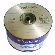 50 Pack Verbatim Blank CD R CDR Logo Branded 52X 700MB 80min Recordable Media Disc