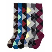 37b74c480da Multicolor Argyle Print 6-Pack Assorted Knee High Socks