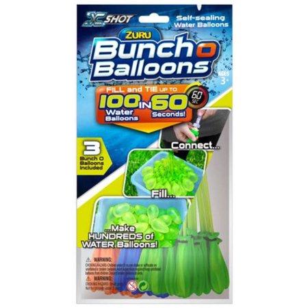 Bunch O Balloons 100 Rapid-Filling Self-Sealing Water Balloons (3 Pack) by ZURU - Water Balloon Kit