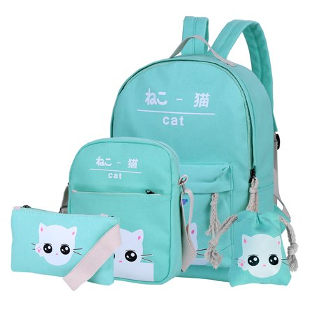 Vbiger Chic Canvas Backpack Set 4-in-1 Shoulder Bags Casual Student Daypack for Girls & Boys, Cute Cat Pattern, Light